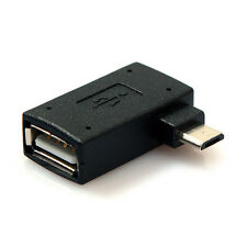 Left Angled Micro USB 2.0 OTG Host Adapter with USB Power for Cell Phone Tablet