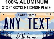 """Alabama Novelty Aluminum 3"""" x 6"""" BICYCLE State License Plate  / PERSONALIZED"""