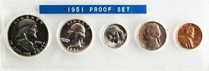 1951 US Proof Set 3 Silver Coins Beautiful Set As Found 1c 5c 10c 25c 50c Coins