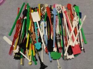 Vintage Lot of 160 National & International Hotel Swizzle Sticks - Great Variety
