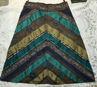 🌹 East Skirt Sz 16 Beaded Sequin embroidered Hippie Boho ❤️ Green Brown Panel