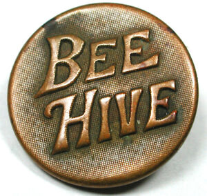 """Antique Work Clothes Button """"Bee Hive"""" Verbal - NIce! 3/4""""   1890s"""