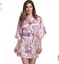 Satin/Silk Short/long Wedding Bride Bridesmaid Robe Women Floral Bathrobe Kimono
