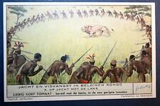 LION HUNT   Traditional African Hunting    Superb Vintage Card  VGC