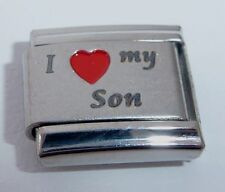 I LOVE MY SON Italian Charm - Red Heart 9mm fits Classic Bracelets E406 Boy