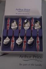 ARTHUR PRICE UK UNION JACK SET OF 6 TEASPOONS STAINLESS STEEL 18/10 COLLECTABLE