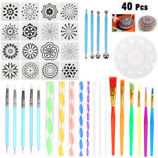 40Pcs Mandala Dotting Tools for Painting Rock Stone with Stencils Template Brush