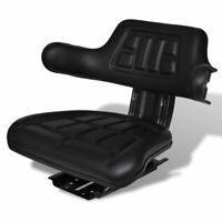 vidaXL Tractor Seat w/ Backrest Black Base & Slid Track Mower Forklift Seating✓