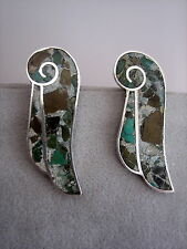 VTG STER.SILVER MEXICO TAXCO DF 925 SCREW-ON EARRINGS WITH TURQUOISE INLAY