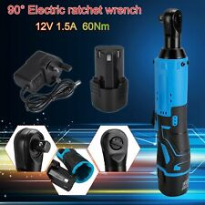 Electric Cordless Right Ratchet Angle Wrench Power Tool 12V 60Nm 3/8'' 2 Battery