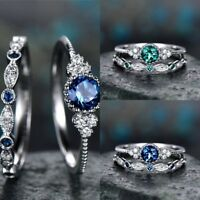 925 Silver White Topaz Emerald Sapphire Engagement Wedding Ring Jewelry 6-10