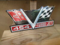CHEVROLET CHEVY 454 TURBO JET  EMBOSSED  METAL SIGNS MAN CAVE  GARAGE Cool!