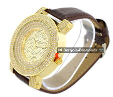 mens big heavy gold clubbing ice out watch bling dial leather strap Techno Pave