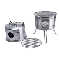 Outdoor Stainless Steel Foldable Camping Wood Stove BBQ Portable Cooking Stove