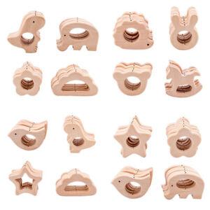 Beech Animal Wooden Teether Pendant Baby Sensory Teething Jewelry Toys Making