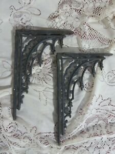Vintage Pair of Victorian Shelf Brackets Cast Iron Black