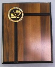 HOCKEY  trophy 8 x 10 solid wood plaque black gold metal insert