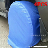 """4X  Wheel Tire Covers For RV Trailer Camper Truck to 31"""" Diameter Tyre Blue New"""