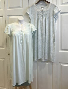 Lot of 2 Miss Elaine Nightgowns Short Sleeve Pale Green & Blue Floral Sz Large