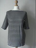 MACYS CHARTER CLUB USA jersey top NEW XL 16 18 black white striped short sleeve
