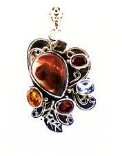Multi-stone, Sterling Silver Pendant w/o Chain
