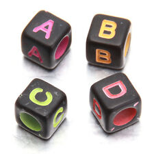 500pcs Multicolor Colorful Letters Carved Black Cube Plastic Charms Bead Bulk BS