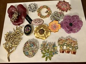 Lot Of 14 Flower Themed Brooches Monet Jones New York Liz Claiborne