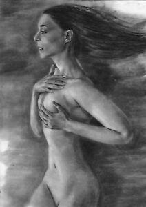 original drawing A3 313PY art samovar Charcoal realism female nude Signed 2021