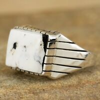 Navajo Native American Sterling Silver White Buffalo Ring Size 10.75 Ray Jack