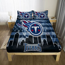 Tennessee Titans Bed Fitted Sheet Cover 3PCS Fitted Sheet&Pillowcase Bedding set