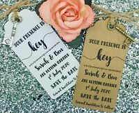 Rustic Key Save The Date Card / Tag Wedding Invitation