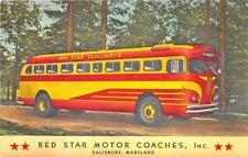 Salisbury Md Red Star Trailways Bus Motor Coaches Linen Postcard