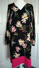 per Una Marks & Spencer Tunic Dress UK 20 Eur48 Black Bold Floral Print
