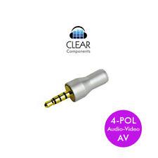MINI JACK JACK STANDARD 3,5mm 4 Pol AV-Argento Alu-iPod mp3 Plug-HIFI