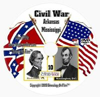 Civil War: Arkansas, Mississippi History Genealogy DVD