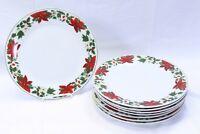 "Gibson Poinsettia Holiday Xmas Dinner Plates 10.5"" Lot of 8"