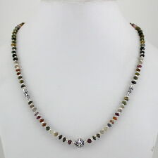 NATURAL MULTI COLOR TOURMALINE GEMSTONE  BEADED BEAUTIFUL CHARMING NECKLACE 17gm