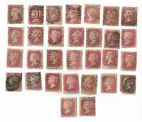 UK Queen Victoria Penny Red stamps x 30  (All damaged) Batch 1