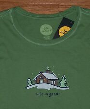 *RARE* Life Is Good LARGE Womens SNOW CABIN Long Sleeve Crew Tee GREEN Mountains