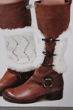 Women Boots Covers Topper Pair Warmer Winter Fabric Slip On White Muffs Buttons