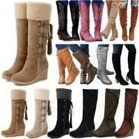 Women Winter Fleece Snow Boots Knee High Wide Calf Wedge Heels Boots Shoes Size