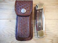 Custom 5 inch Brown basket Weave leather knife sheath - Holds a Buck 110.