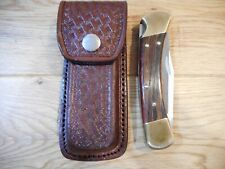 Custom 5 inch Brown basket Weave leather knife sheath - Holds a Buck 110.
