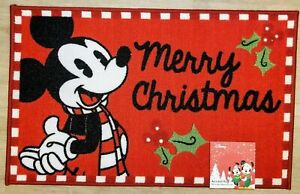 """Disney Mickey Mouse """"MERRY CHRISTMAS"""" Holiday Greeting Accent Rug Door Mat *NEW*"""