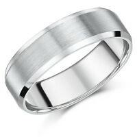 Men's Titanium Engagement Wedding Band Matt & Polished Bevelled Ring Unisex 7mm