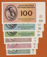 Czechoslovakia WWII Theresienstadt 1943 Set 6 Notes 1,2,5,20,50,100 Kronen UNC