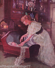 MOTHER w- Infant Baby CRADLE Crib Rocking Bed Vintage Art  1912  MATTED Picture