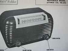 MOTOROLA 67XM21 RADIO PHOTOFACT