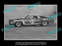 OLD LARGE HISTORIC PHOTO OF PARNELLI JONES DRIVING HIS FORD MUSTANG 1969