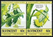 St. Vincent 1985 SG#856a 40c Birds MNH Pair Error Colours Missing #D35153